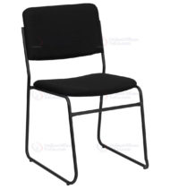 HERCULES Series 1000 lb. Capacity High Density Black Fabric Stacking Chair with Sled Base -0