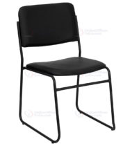 HERCULES Series 1000 lb. Capacity High Density Black Vinyl Stacking Chair with Sled Base -0