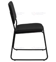 HERCULES Series 1000 lb. Capacity High Density Black Vinyl Stacking Chair with Sled Base -17673