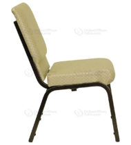 HERCULES Series 18.5'' Wide Beige Patterned Stacking Church Chair with 4.25'' Thick Seat - Gold Vein Frame -17693