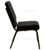 HERCULES Series 18.5'' Wide Black Dot Patterned Stacking Church Chair with 4.25'' Thick Seat - Gold Vein Frame -17701