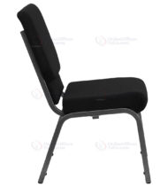 HERCULES Series 18.5'' Wide Black Stacking Church Chair with 4.25'' Thick Seat - Silver Vein Frame -17709