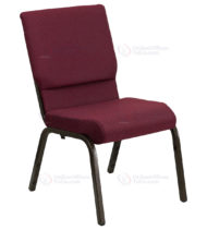HERCULES Series 18.5'' Wide Burgundy Patterned Stacking Church Chair with 4.25'' Thick Seat - Gold Vein Frame -0