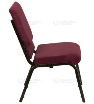 HERCULES Series 18.5'' Wide Burgundy Patterned Stacking Church Chair with 4.25'' Thick Seat - Gold Vein Frame -17741