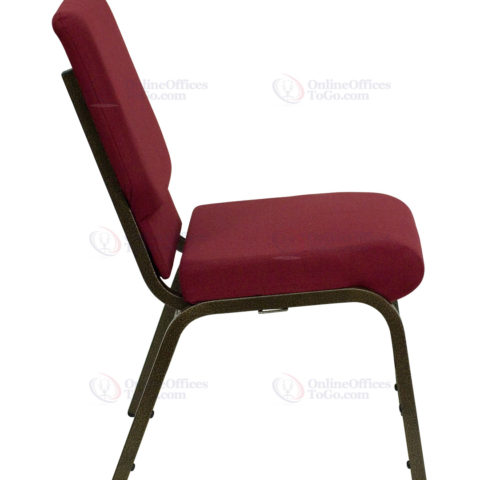 HERCULES Series 18.5'' Wide Burgundy Stacking Church Chair with 4.25'' Thick Seat - Gold Vein Frame -17725