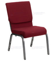 HERCULES Series 18.5'' Wide Burgundy Stacking Church Chair with 4.25'' Thick Seat - Silver Vein Frame -0