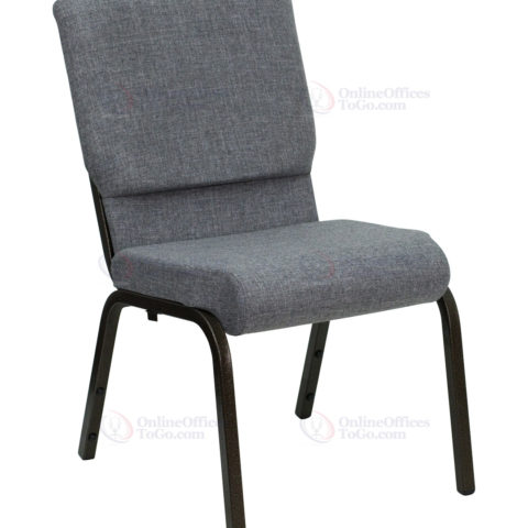 HERCULES Series 18.5'' Wide Gray Stacking Church Chair with 4.25'' Thick Seat - Gold Vein Frame -0