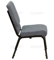 HERCULES Series 18.5'' Wide Gray Stacking Church Chair with 4.25'' Thick Seat - Gold Vein Frame -17685