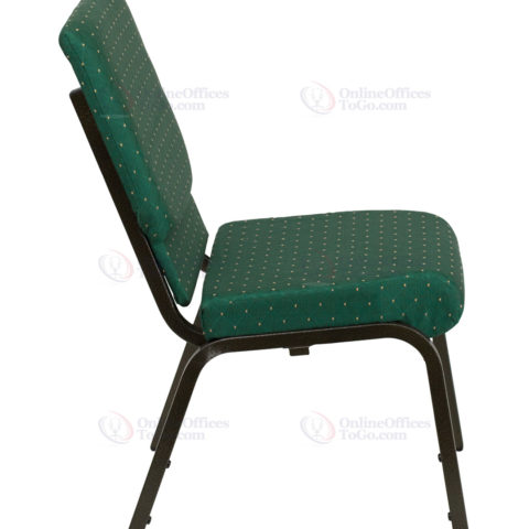 HERCULES Series 18.5'' Wide Green Patterned Stacking Church Chair with 4.25'' Thick Seat - Gold Vein Frame -17749