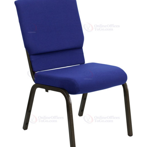HERCULES Series 18.5'' Wide Navy Blue Stacking Church Chair with 4.25'' Thick Seat - Gold Vein Frame -0