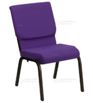 HERCULES Series 18.5'' Wide Purple Stacking Church Chair with 4.25'' Thick Seat - Gold Vein Frame -0
