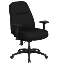 HERCULES Series 400 lb. Capacity High Back Big & Tall Black Fabric Office Chair with Height Adjustable Arms and Extra WIDE Seat -0