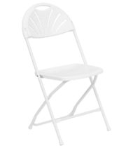 HERCULES Series 800 lb. Capacity White Plastic Fan Back Folding Chair -0