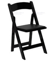 HERCULES Series Black Wood Folding Chair with Vinyl Padded Seat -0