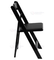 HERCULES Series Black Wood Folding Chair with Vinyl Padded Seat -17569