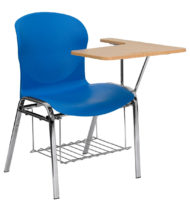 HERCULES Series Blue Shell Chair with Left Handed Laminate Tablet Arm and Book Rack -0