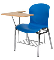HERCULES Series Blue Shell Chair with Right Handed Laminate Tablet Arm and Book Rack -0