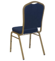 HERCULES Series Crown Back Stacking Banquet Chair with Navy Blue Patterned Fabric and 2.5'' Thick Seat - Gold Frame -15762