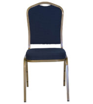 HERCULES Series Crown Back Stacking Banquet Chair with Navy Blue Patterned Fabric and 2.5'' Thick Seat - Gold Frame -0