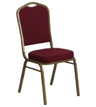 HERCULES Series Crown Back Stacking Banquet Chair with Burgundy Fabric and 2.5'' Thick Seat - Gold Frame -0