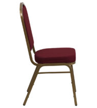 HERCULES Series Crown Back Stacking Banquet Chair with Burgundy Fabric and 2.5'' Thick Seat - Gold Frame -15767