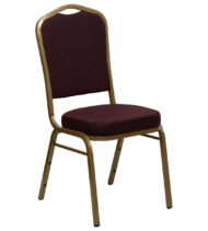 HERCULES Series Crown Back Stacking Banquet Chair with Burgundy Patterned Fabric and 2.5'' Thick Seat - Gold Frame -0