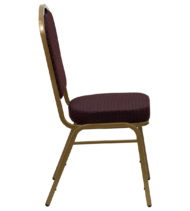 HERCULES Series Crown Back Stacking Banquet Chair with Burgundy Patterned Fabric and 2.5'' Thick Seat - Gold Frame -15771