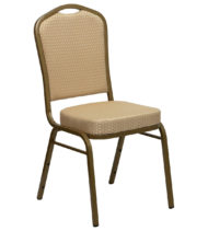 HERCULES Series Crown Back Stacking Banquet Chair with Beige Patterned Fabric and 2.5'' Thick Seat - Gold Frame -0