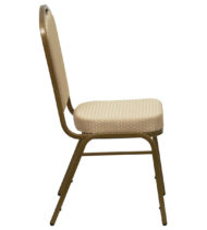 HERCULES Series Crown Back Stacking Banquet Chair with Beige Patterned Fabric and 2.5'' Thick Seat - Gold Frame -15775