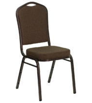 HERCULES Series Crown Back Stacking Banquet Chair with Brown Patterned Fabric and 2.5'' Thick Seat - Copper Vein Frame -0