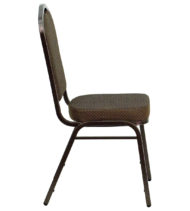 HERCULES Series Crown Back Stacking Banquet Chair with Brown Patterned Fabric and 2.5'' Thick Seat - Copper Vein Frame -15779