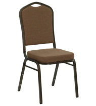 HERCULES Series Crown Back Stacking Banquet Chair with Coffee Fabric and 2.5'' Thick Seat - Gold Vein Frame -0