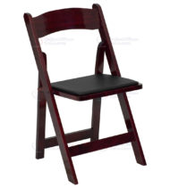 HERCULES Series Mahogany Wood Folding Chair with Vinyl Padded Seat -0