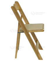 HERCULES Series Natural Wood Folding Chair with Vinyl Padded Seat -17577