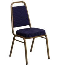 HERCULES Series Trapezoidal Back Stacking Banquet Chair with Navy Patterned Fabric and 2.5'' Thick Seat - Gold Frame -0