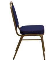 HERCULES Series Trapezoidal Back Stacking Banquet Chair with Navy Patterned Fabric and 2.5'' Thick Seat - Gold Frame -15731