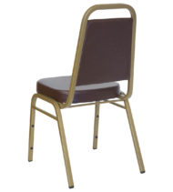 HERCULES Series Trapezoidal Back Stacking Banquet Chair with Brown Vinyl and 2.5'' Thick Seat - Gold Frame -0