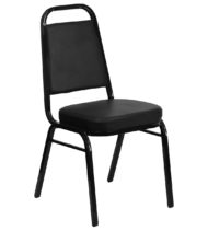 HERCULES Series Trapezoidal Back Stacking Banquet Chair with Black Vinyl and 2.5'' Thick Seat - Black Frame -0