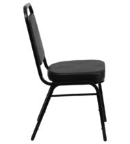 HERCULES Series Trapezoidal Back Stacking Banquet Chair with Black Vinyl and 2.5'' Thick Seat - Black Frame -15739