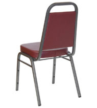 HERCULES Series Trapezoidal Back Stacking Banquet Chair with Burgundy Vinyl and 2.5'' Thick Seat - Silver Vein Frame -0