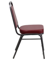 HERCULES Series Trapezoidal Back Stacking Banquet Chair with Burgundy Vinyl and 2.5'' Thick Seat - Silver Vein Frame -15743