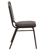 HERCULES Series Trapezoidal Back Stacking Banquet Chair with Brown Vinyl and 1.5'' Thick Seat - Copper Vein Frame -15747