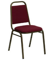 HERCULES Series Trapezoidal Back Stacking Banquet Chair with Burgundy Fabric and 1.5'' Thick Seat - Gold Vein Frame -0