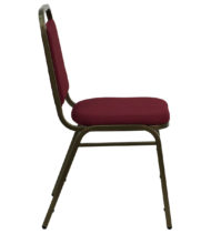 HERCULES Series Trapezoidal Back Stacking Banquet Chair with Burgundy Fabric and 1.5'' Thick Seat - Gold Vein Frame -15751