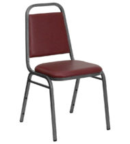 HERCULES Series Trapezoidal Back Stacking Banquet Chair with Burgundy Vinyl and 1.5'' Thick Seat - Silver Vein Frame -0