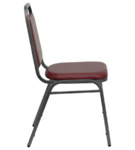 HERCULES Series Trapezoidal Back Stacking Banquet Chair with Burgundy Vinyl and 1.5'' Thick Seat - Silver Vein Frame -15755
