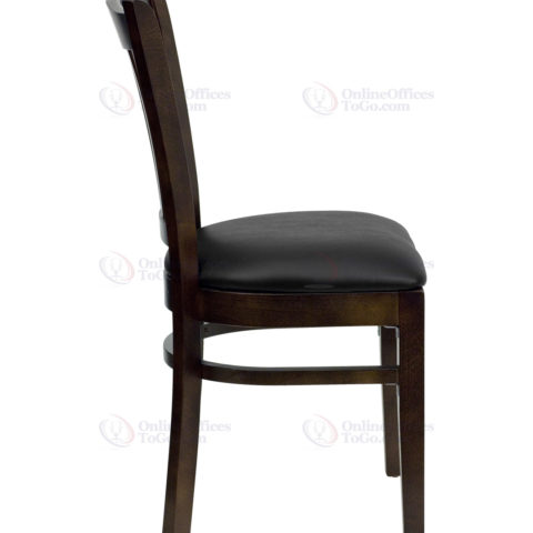 HERCULES Series Walnut Finished Vertical Slat Back Wooden Restaurant Chair with Black Vinyl Seat -18305