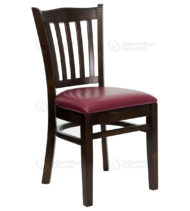 HERCULES Series Walnut Finished Vertical Slat Back Wooden Restaurant Chair with Burgundy Vinyl Seat -0