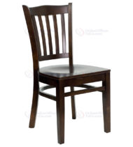 HERCULES Series Walnut Finished Vertical Slat Back Wooden Restaurant Chair -0