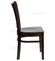 HERCULES Series Walnut Finished Vertical Slat Back Wooden Restaurant Chair -18313